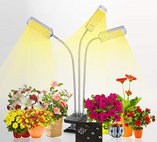 Grow Light with Ultra LED Growing lamp,PigBaBa Plant Lights for Indoor Plants has Digital Display Shows Exact 1-100% Brightness,Timing On/Off Auto Function.Freely Control 3 or 2 or 1 Plant Light