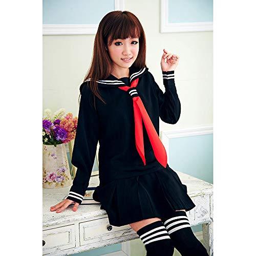 Vokaer Le Ragazze Classiche della Scuola Giapponese Sailor Navy Black Dress Shirts Uniform Anime Costumi Cosplay con Calzini Set,XL