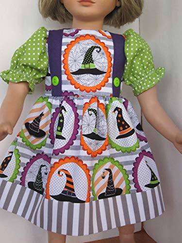 "Handmade in USA! Colorful Witch Hat Halloween Dress fits 23"" My Twinn Dolls"