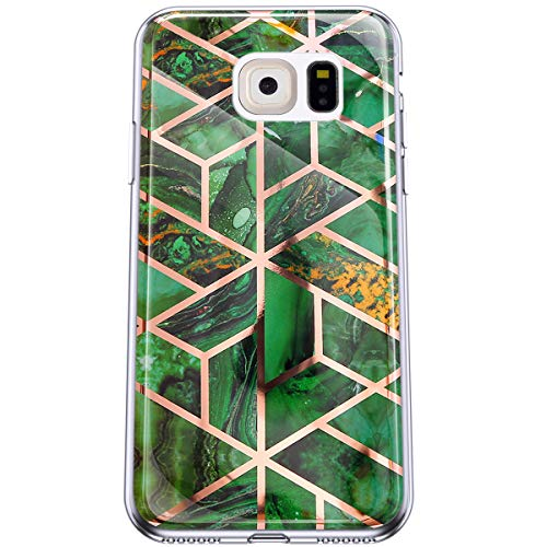 Felfy Kompatibel mit Galaxy S6 Hülle Marmor Case Cover Überzug Weiche TPU Silikon Handyhülle Anti-Rutsch Anti-Gelb Stoßfest Rückseite Schutzhülle Glitzer Handy Hüllen für Galaxy S6,Türkis