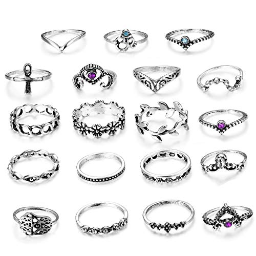 Milacolato 19 Pcs Vintage Knuckle Ring Set for Women Girls Stackable Rings Set Hollow Carved Flowers
