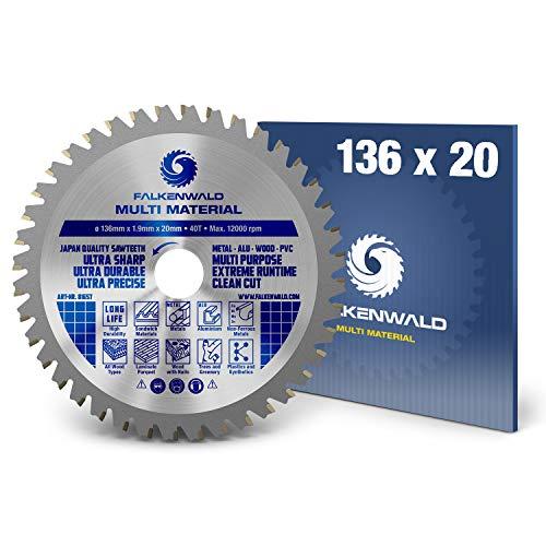 FALKENWALD - Hoja de Sierra Circular 136 x 20 mm - Ideal para Madera - Metal y Aluminio - Disco de Corte compatible con Sierra Tronzadora y Sierra Circular de Bosch & Makita