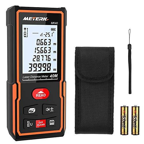 Laser Entfernungsmesser, Meterk Distanzmessgerät mit Messbereich von 40m, 30 Gruppen Datenspeicher, M/In/Ft in Multimessmodus, IP54 und LCD Hintergrundbeleuchtung für Genaue Messung