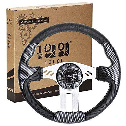 "10L0L Generic 12.5"" Golf Cart Steering Wheel fit EZGO Club Car Yamaha,Rally Black Steering Wheel"