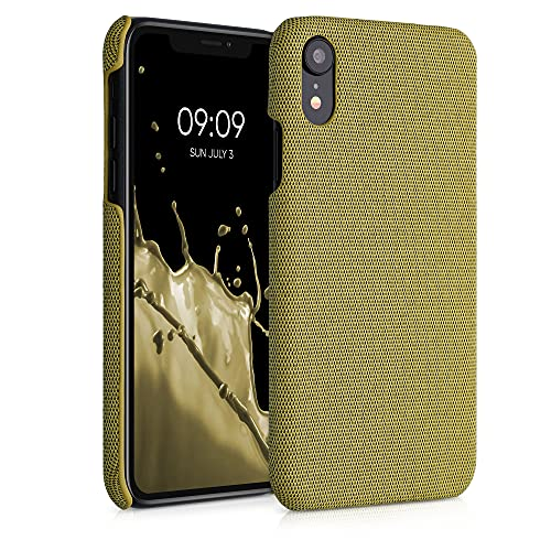 kwmobile Cover Rigida Compatibile con Apple iPhone XR - Custodia Cellulare - Back Cover Case Protettiva Cover in Tessuto - Giallo