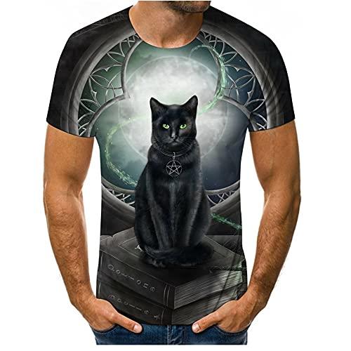 Camiseta Hombre Estampado 3D Creativo Lindo Patrón De Gato Cuello Redondo Manga Corta Vacaciones Ocio Ropa De Calle Holgada Y Cómoda De Verano Hombre T24415 3XL