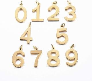 Airssory 10 قطع رقم 0 ~ 9 قلادات مطلية بالذهب من الفولاذ المقاوم للصدأ سحر صغيرة متنوعة للنساء الرجال قلادة صنع المجوهرات...