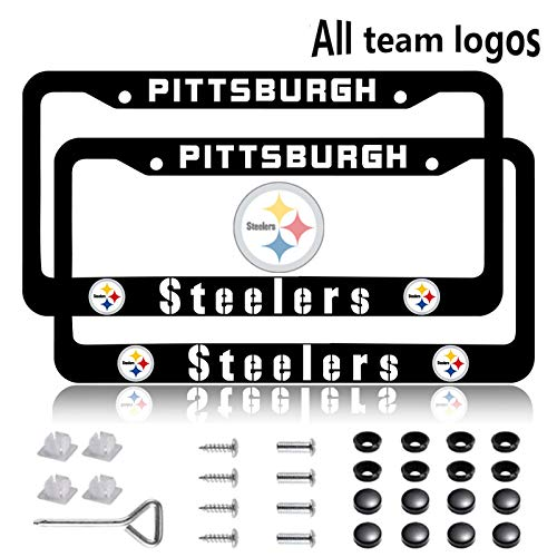 Fit Pittsburgh Steelers License Plate Frames 2 Pack, Aluminum Alloy Steelers License Plate Holder,Universal American Auto Licence Plate Covers, Rust-Proof, Rattle-Proof, Weather-Proof (Fit Steelers)