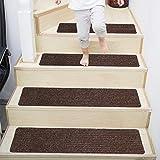 ACMOMO Stufenmatten 20.5 cm X 76.5 cm 15er Set Treppenteppich Selbstklebend Sicherheit Stufenteppich für Kinder, Älteste und Haustiere, Braun