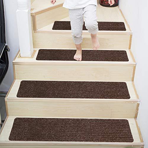 JIAYIDA Stufenmatten 20.5 cm X 76.5 cm 15er Set Treppenteppich Selbstklebend Sicherheit Stufenteppich für Kinder, Älteste und Haustiere, Braun