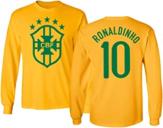 Tcamp Soccer Legends #10 Ronaldinho Jersey Style Men's Long Sleeve T-Shirt