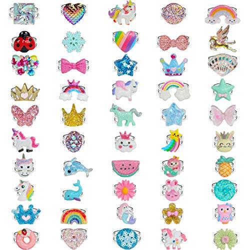 SOTOGO 50 Pieces Girl Rings Kids Rings Adjustable Rings Play Girl Dress up Rings, Little Girls Rings...