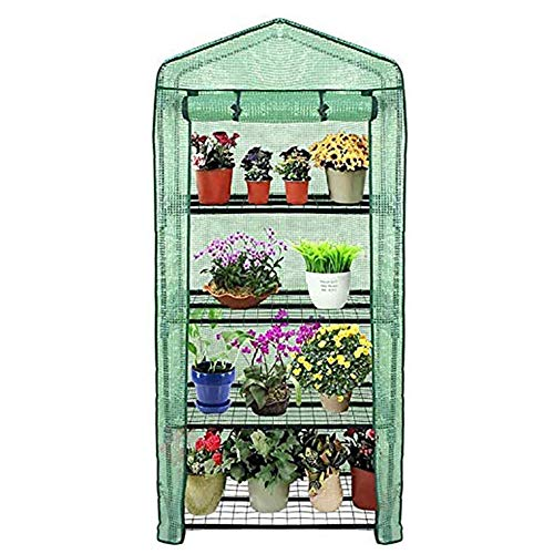Reinforced 4 Tier Mini Greenhouse, Portable Steeple Green House Outdoor Indoor Plant Shelves Garden Yard Patio Vegetables Plant Hot House, Easy to Assemble,Green