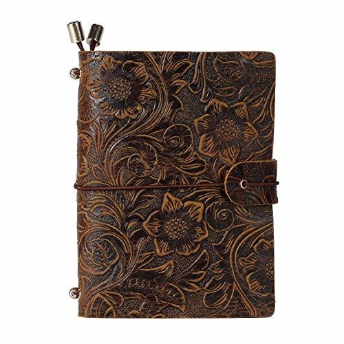 UBAYMAX Journal diario A6 Quaderno Pelle Simile Blocco Note Vintage Quaderno Diario Quaderno di Giornale Regalo (Marrone fiore)