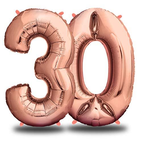envami Folienballon Zahl I Geburtstagsdeko Rosegold I 100cm I Deko zum Geburtstag I Luftballon Zahlen Dekoration I Happy Birthday I Fliegt mit Helium (Zahl 30)