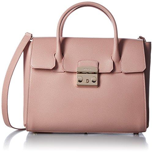 FURLA Metropolis Medium Satchel - Borse a secchiello Donna, Pink (Moonstone), 11x19x24 cm (B x H T)