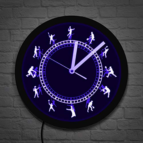 LIMN Reloj de Pared de Vinilo Jugador de bádminton Colgante de Pared Reloj de Pared de neón Volante Acrílico Borde LED Luz de Pared iluminada Regalo para el Amante del Deporte Atleta de bádminton