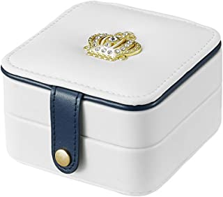 iSuperb Travel Jewelry Box PU Leather Golden Crown Designed Display Storage Case Jewelry Gift Box with Mirror for Rings Earrings Necklace Bracelet (White)