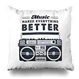 Klotr Fundas para Almohada Sketch Radio 90 Badge Boombox Recorder Quot Music Base Makes Everything Better Inspirational Pillowcase Square Size 18 x 18 Inches Zippered Home Decor Cushion Case