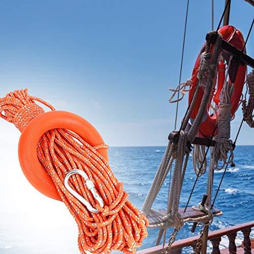 Surebuy Cuerda Salvavidas Flotante de Agua, Tirar Fuerte Diámetro 6mm Cuerda multifunción, Kit de Anclaje de Barco Pequeño para Grandes Piscinas, Playas, Yates(30m/98,4pies Longitud)