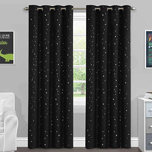 H.VERSAILTEX Blackout Curtains Kids Room Thermal Insulated Twinkle Stars Printed Curtain Draperies for Boys Girls, Sleep-Enhancing Magic Grommet Drapes, 2 Panels, Each 52x84-Inch, Black