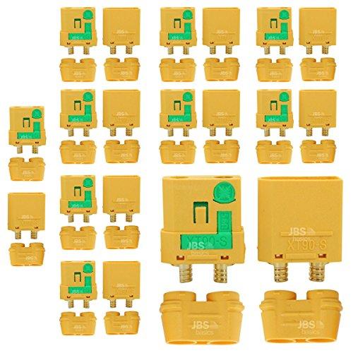 JBS basics ] XT90S XT90-S Anti Blitz Hochstrom [ 1 Paar / 3 Paar / 5 Paar / 10 Paar ] Gold Stecker Buchse Akku Nylon Lipo Anti Spark Funken Steckverbindung 4,5 mm lötbar Male Female (10 Paar)