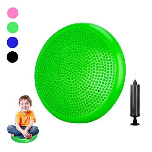 Freesty Wobble Cushion, Wiggle Seat with Pump, Air Stability Disc Core Trainer for Home & Gym, Office Desk Chair Cushion for Flexible Classroom Seat, Sensory Kids Cushion Seat for Fidget
