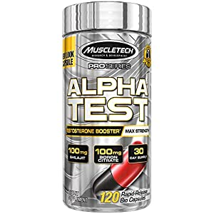 Testosterone Booster for Men | MuscleTech AlphaTest | Tribulus Terrestris for Men | Max-Strength ATP & Test Booster for Men | Boron Supplement for Men, 120 Pills (Package May Vary)