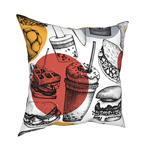 Throw Pillowcase Pillow Covers 18x18 Inch Fast Food Illustration. Retro Background For Restaurant, Cafe Or Food Truck Menu decoration for Home Decor Office Sofa Holiday Bar Coffee Wedding Car