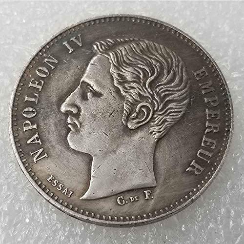 DDTing Best Silver Coins 1874 Moneda Conmemorativa de Napoleón francés, colección de Monedas Antiguas, dólar de Plata Francesa, dólar Antiguo de Morgan Dollar, Chapado en Plata, Buen Servicio