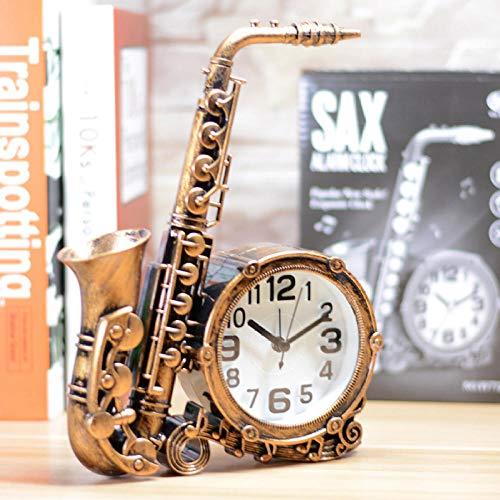 Silent Non-Ticking, Geweit Simulation Kunststoff Saxophon kreative Musikinstrument Nachttisch Wecker Schlafzimmer Hauptdekoration Musik Enthusiasten Geschenk-Bronze