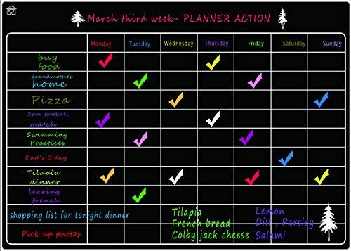 LOBZON Pizarra Blancas magnética - A3 Frigorífico Calendario + para la planificación del menú, Lista de la Compra, recordatorio, Lista de tareas, Tablero Dibujo de imanes para niños (Negro)