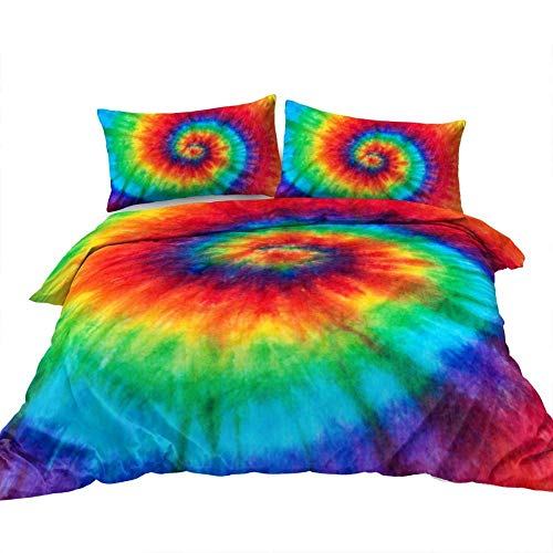 BEDSETAAA Bedding Set Single/Double Boho rainbow dye abstract spiral pattern King 1 X bed cover (230 Cm x 220 Cm) Reversable Quilt Duvet Cover Set Easy Care rgic So 2 pillowcases (50 x 75 Cm)