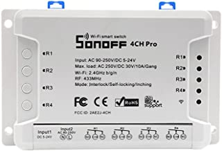 Sonoff 4CH Pro R2 Smart Switch, Interlock Switch for Generator, Inching/Self-locking WiFi & RF Wireless Switch 90~250V AC/ 5~24V DC,Work with Alexa,& Google Home & IFTTT (1-16s delay in inching mode)