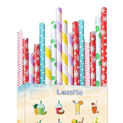 LessMo 150 Stk. Papierstrohhalme, Biologisch Abbaubare Einweg Trinkhalme, Lebensmittelecht, 6 Farben