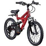 Kinderfahrrad MTB 20 Zoll Fully Galano FS180 Fahrrad Full Suspension ab 6 Jahre (rot, 31 cm)