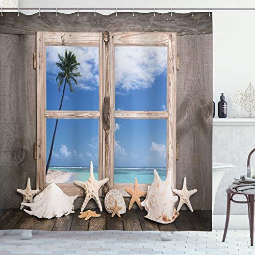 ABAKUHAUS Strand Duschvorhang, Muscheln Seestern Palms, Wasser Blickdicht inkl.12 Ringe Langhaltig Bakterie & Schimmel Resistent, 175 x 200 cm, Blass Braun Himmel Blau & Weiß