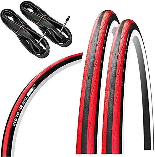 GORIX Rennrad-Reifen 700 × 23 C oder 700 × 25 C (2 Reifen + 2 Schläuche) Fahrrad (Gtoair Edition) (schwarz × rot, 700 × 23 C)