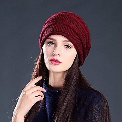 QISLOVE Otoño Invierno Moda cálido Marea Gorra Vino Rojo Gorro de Lana Hombres y Mujeres Gorro de Lana Gorro de Lana