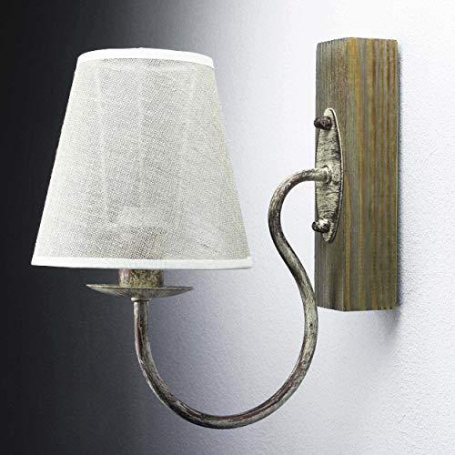 Wandlamp stof hout metaal rustieke landelijke stijl
