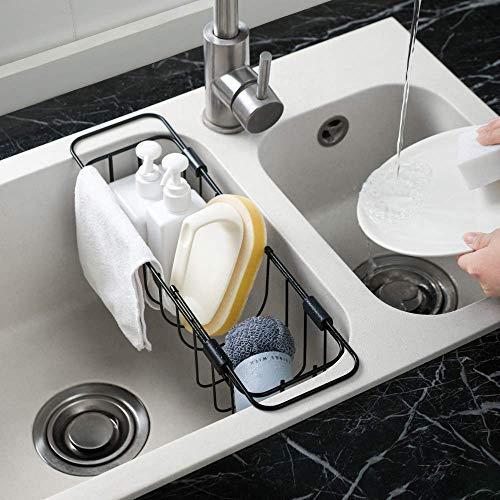 LINFIDITE Kitchen Sink Caddy Sponge Holder Expandable Sink Storage Drain Rack Sponge Soap Brush Organizer Basket for Kitchen Sink Bathroom Laundry Room Expandable 13.19inch.-21.06inch Black