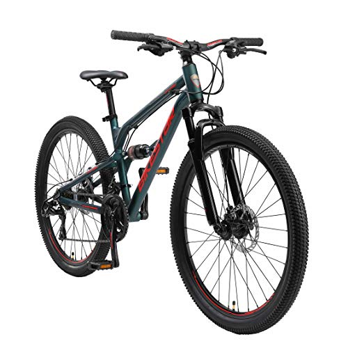 BIKESTAR Bicicleta de montaña de Aluminio Suspensión Doble Completa 26 Pulgadas | Cuadro 16' Cambio Shimano de 21 velocidades, Freno de Disco, Fully MTB | Verde