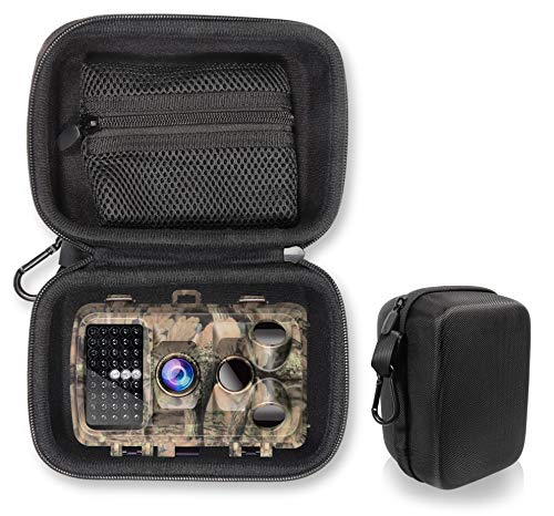getgear Hunting Scouting Camera Case for Campark Trail Game Camera 14MP 1080P Waterproof Hunting Scouting Cam T70, T45, T40, T30, T20, Removable Accessories Pouch, Free Carabiner