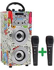DYNASONIC (3rd Gen) – przenośny głośnik Bluetooth do karaoke, 10 W, 2 mikrofony, radio, czytnik USB i SD, (2 TWS, 2 mikrofony), 025