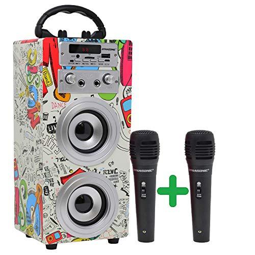 DYNASONIC | tragbarer Bluetooth-Lautsprecher mit TWS-Technologie (3. Generation), mit Karaoke-Modus und Mikrofone | USB-Anschluss und SD-Kartensteckplatz, UKW-Radio, 2 TWS, 2 Mikrofone