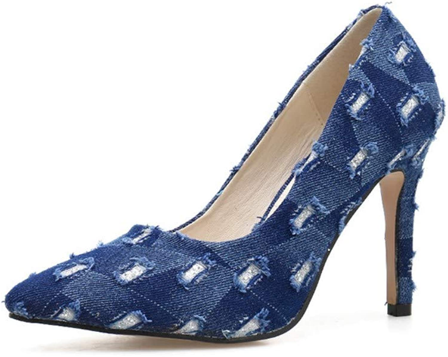 JQfashion Women's High-Heeled shoes Denim Face Pointed Thin-Heeled Single shoes