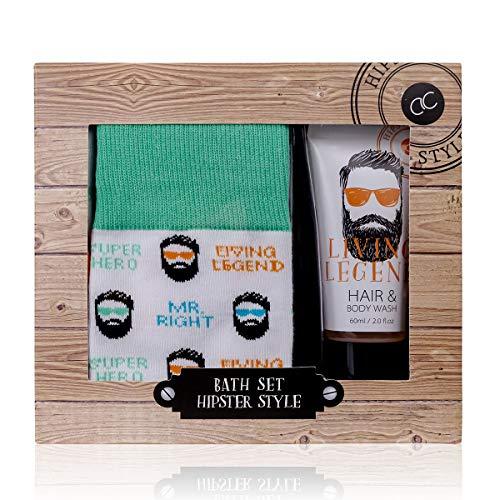 Accentra Hipster Style Geschenkset voor mannen, inclusief douchegel en shampoo (2 in 1) en 1 paar stijlvolle sokken, alles aantrekkelijk verpakt in een geschenkdoos