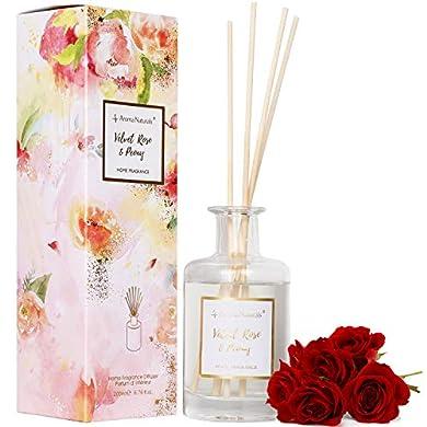Foto di Aroma Naturals, diffusore con Bastoncini, 200 ml, Dura Fino a 6 Mesi, Set da 8 Bastoncini, con Scatola con Stampa Decorativa, Velvet Rose e peonia