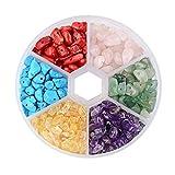 Jaimenalin Cuentas de Piedras Preciosas, Chips Naturales Caja Surtida de 6 Colores Cuentas Sueltas EnergíA de Cristal EnergíA Curativa para Hacer Joyas