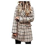 SSMENG Chaqueta de lana para mujer con botones de solapa, casual, manga larga, delgada, para trabajo, oficina, doble botonadura